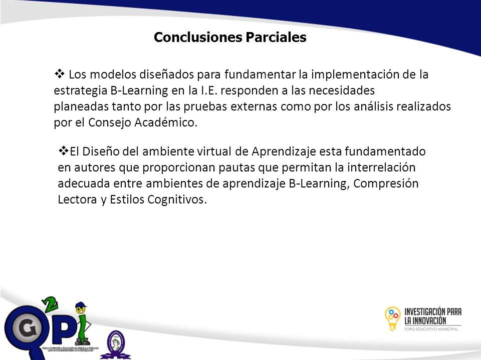 Conclusiones Parciales Los modelos diseñados para fundamentar la implementación de la estrategia B-Learning en la I.E. responden a las necesidades pla