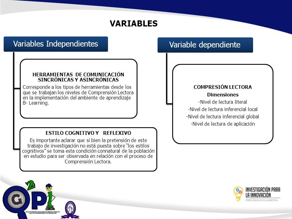 VARIABLES Variables Independientes HERRAMIENTAS DE COMUNICACIÓN SINCRÓNICAS Y ASINCRÓNICAS Corresponde a los tipos de herramientas desde los que se tr