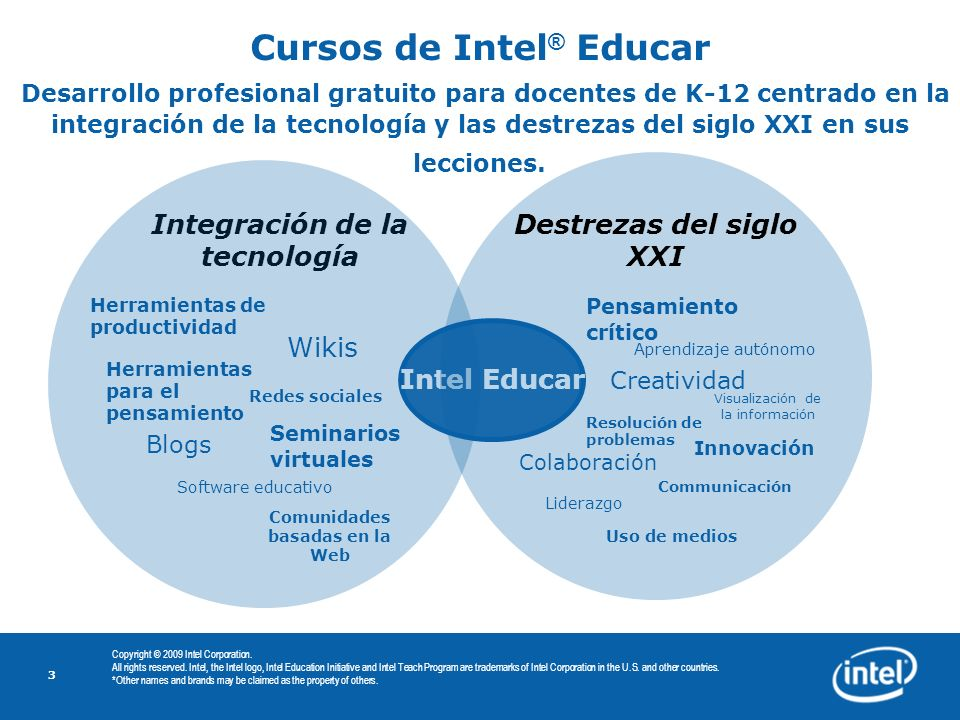 3 Copyright © 2009 Intel Corporation. All rights reserved. Intel, the Intel logo, Intel Education Initiative and Intel Teach Program are trademarks of