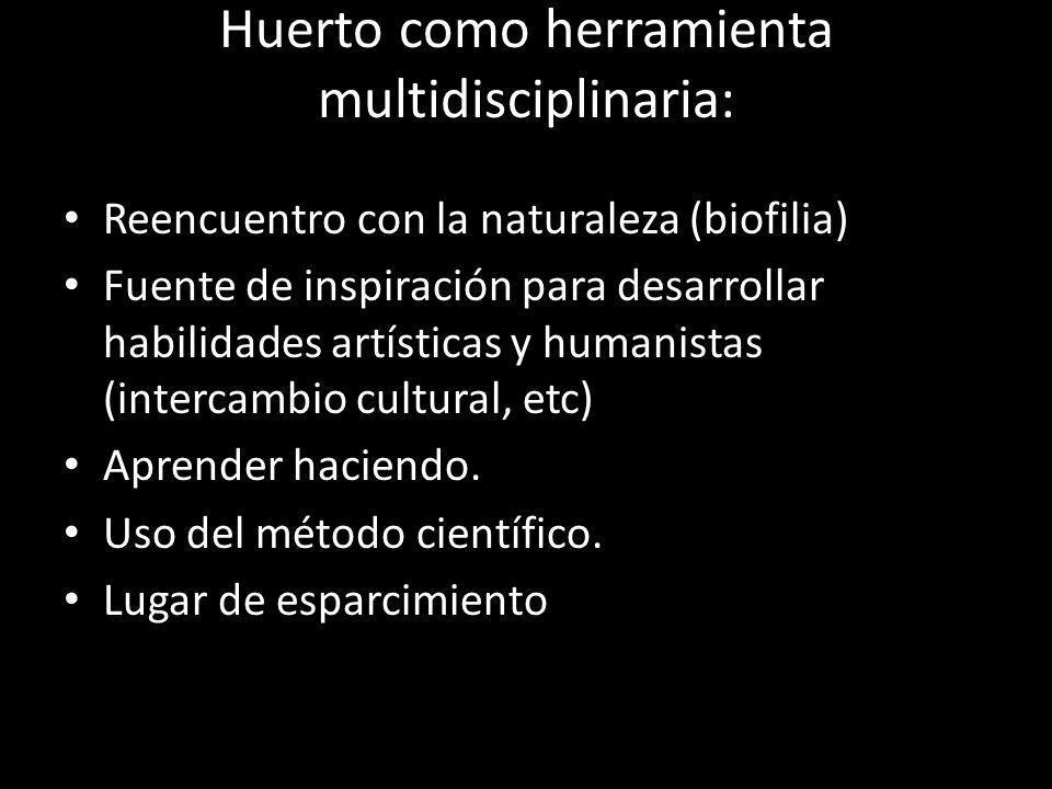 Huerto como herramienta multidisciplinaria: Reencuentro con la naturaleza (biofilia) Fuente de inspiración para desarrollar habilidades artísticas y h