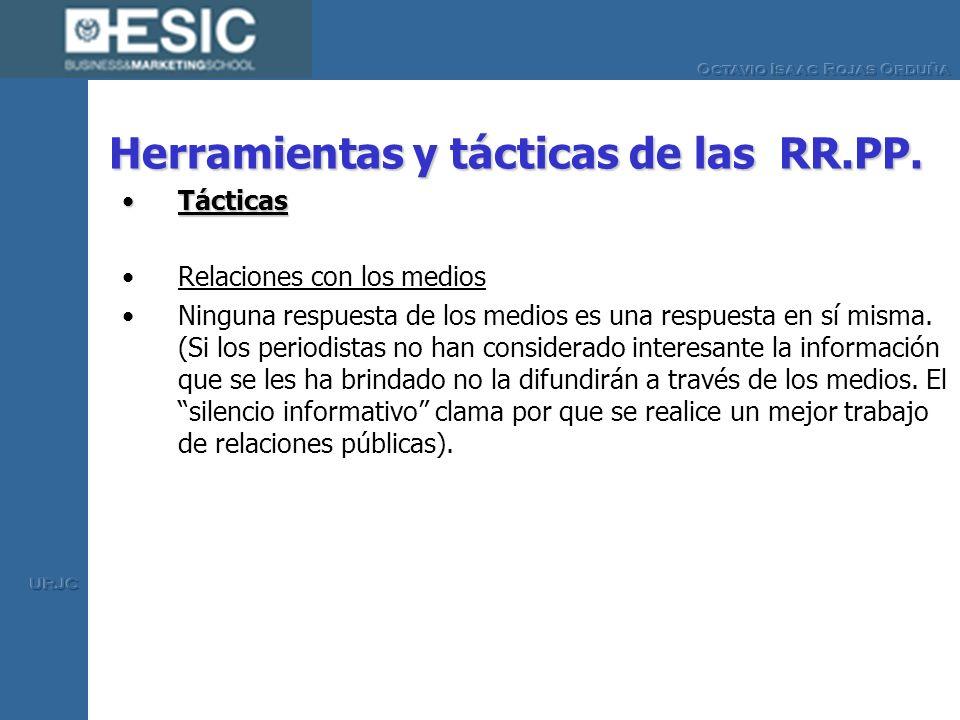 Herramientas y tácticas de las RR.PP. TácticasTácticas Relaciones con los medios Ninguna respuesta de los medios es una respuesta en sí misma. (Si los