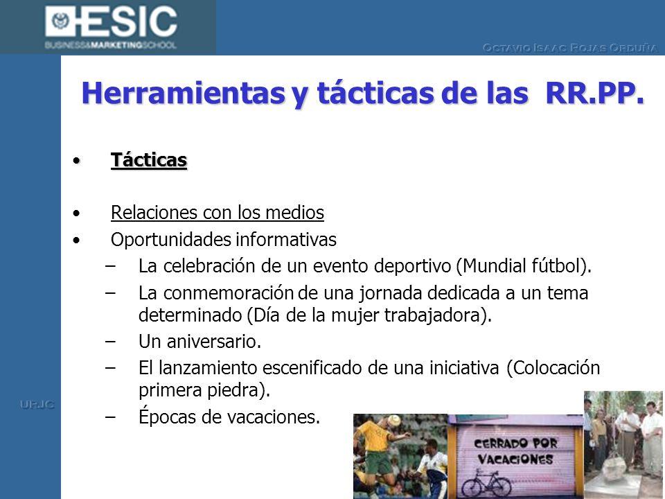 Herramientas y tácticas de las RR.PP. TácticasTácticas Relaciones con los medios Oportunidades informativas –La celebración de un evento deportivo (Mu