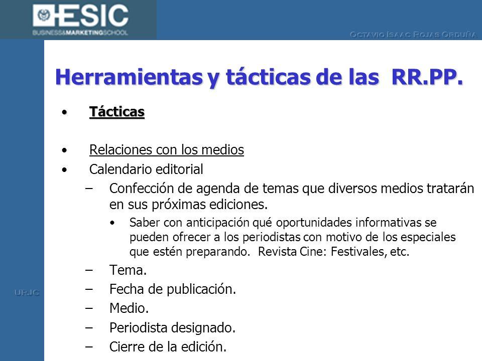 Herramientas y tácticas de las RR.PP. TácticasTácticas Relaciones con los medios Calendario editorial –Confección de agenda de temas que diversos medi