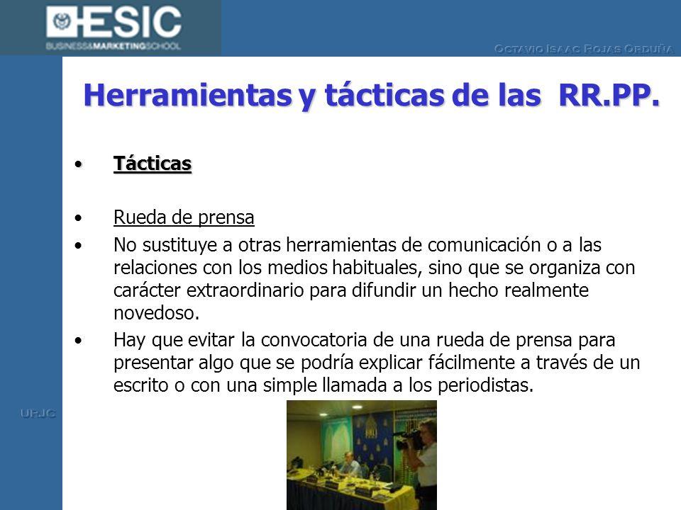Herramientas y tácticas de las RR.PP. TácticasTácticas Rueda de prensa No sustituye a otras herramientas de comunicación o a las relaciones con los me