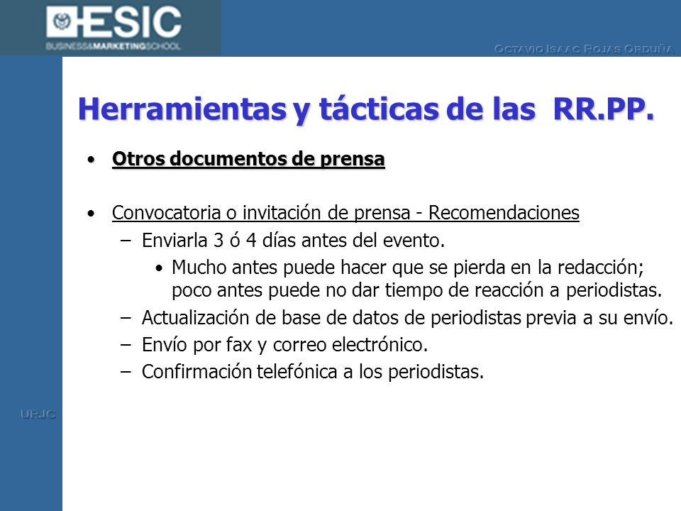 Herramientas y tácticas de las RR.PP. Otros documentos de prensaOtros documentos de prensa Convocatoria o invitación de prensa - Recomendaciones –Envi