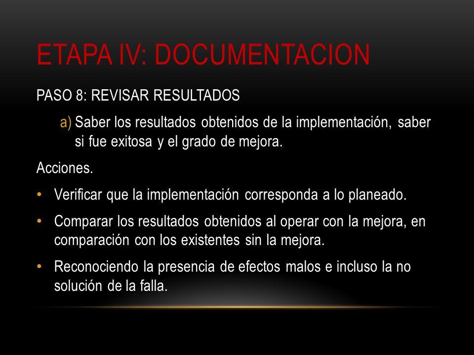ETAPA IV: DOCUMENTACION PASO 8: REVISAR RESULTADOS a)Saber los resultados obtenidos de la implementación, saber si fue exitosa y el grado de mejora. A