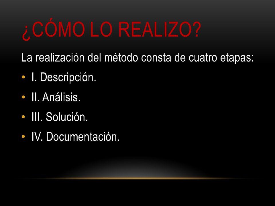 ¿CÓMO LO REALIZO? La realización del método consta de cuatro etapas: I. Descripción. II. Análisis. III. Solución. IV. Documentación.