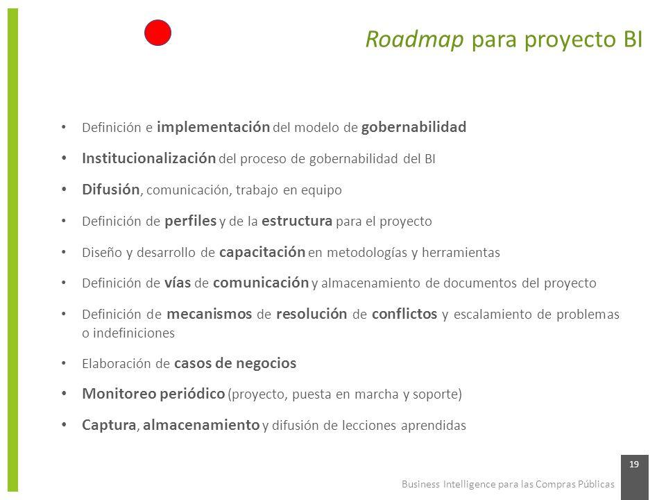 Business Intelligence para las Compras Públicas 19 Roadmap para proyecto BI Definición e implementación del modelo de gobernabilidad Institucionalizac