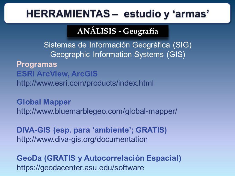 ANÁLISIS - Geografía Sistemas de Información Geográfica (SIG) Geographic Information Systems (GIS) Programas ESRI ArcView, ArcGIS http://www.esri.com/