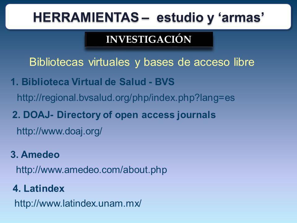 INVESTIGACIÓN Bibliotecas virtuales y bases de acceso libre http://www.amedeo.com/about.php 4. Latindex http://www.latindex.unam.mx/ 2. DOAJ- Director