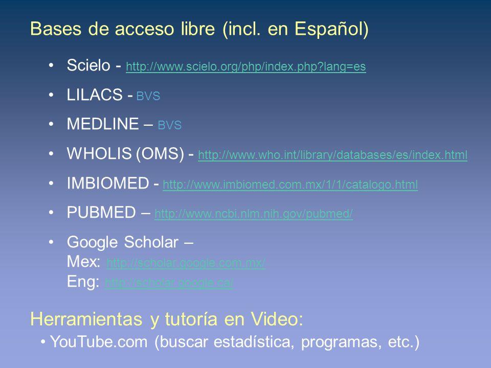 Bases de acceso libre (incl. en Español) Scielo - http://www.scielo.org/php/index.php?lang=es http://www.scielo.org/php/index.php?lang=es LILACS - BVS