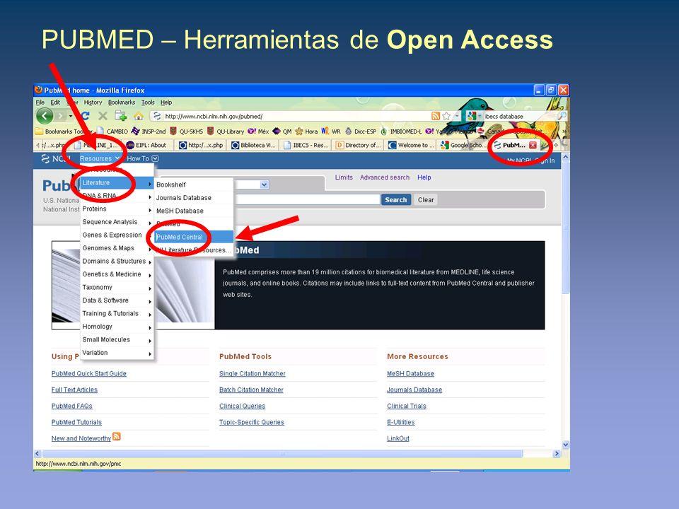 PUBMED – Herramientas de Open Access