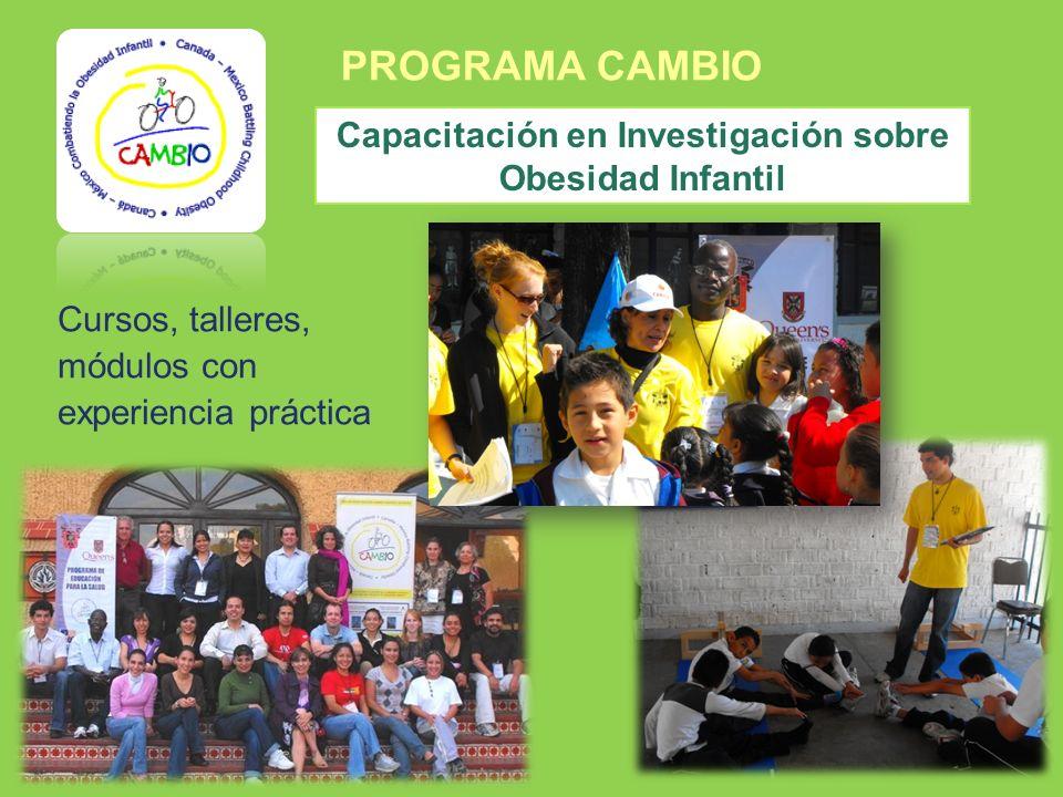 PROGRAMA CAMBIO Cursos, talleres, módulos con experiencia práctica Capacitación en Investigación sobre Obesidad Infantil