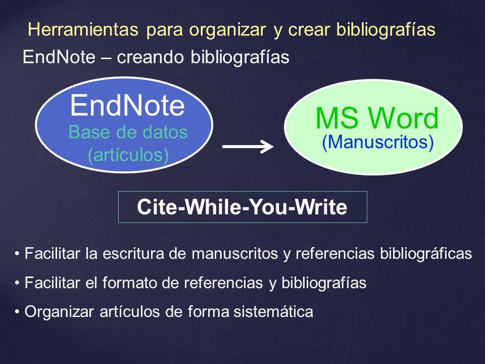 EndNote – creando bibliografías Cite-While-You-Write Facilitar la escritura de manuscritos y referencias bibliográficas Facilitar el formato de refere