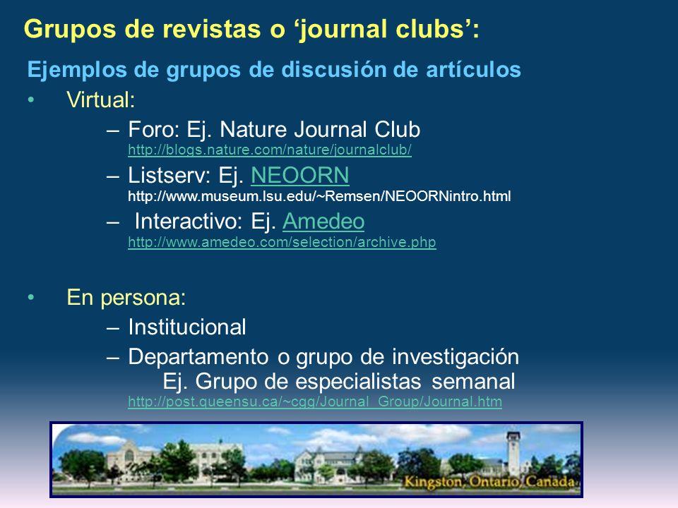 Grupos de revistas o journal clubs: Ejemplos de grupos de discusión de artículos Virtual: –Foro: Ej. Nature Journal Club http://blogs.nature.com/natur
