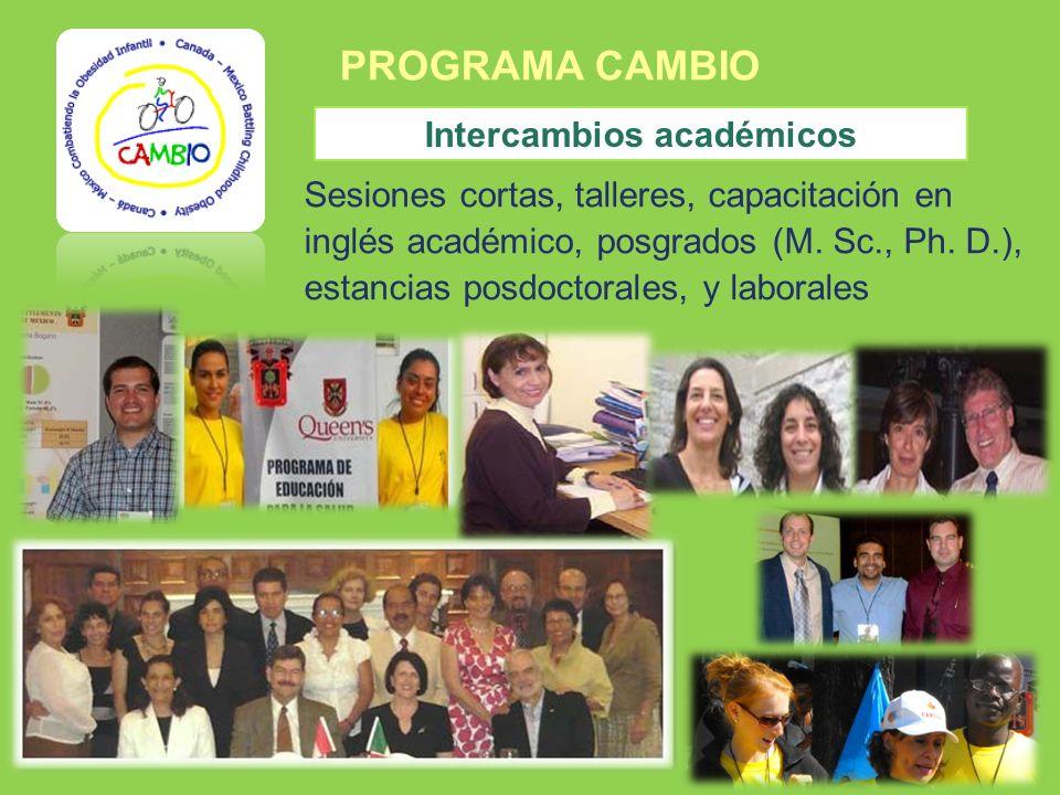 PROGRAMA CAMBIO Intercambios académicos Sesiones cortas, talleres, capacitación en inglés académico, posgrados (M. Sc., Ph. D.), estancias posdoctoral