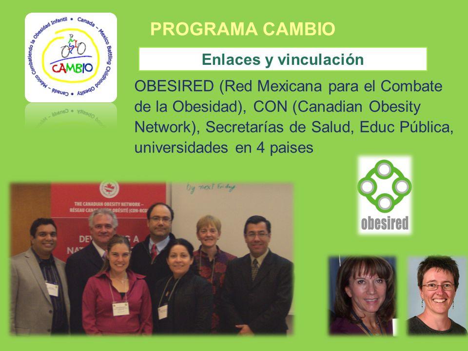 PROGRAMA CAMBIO Enlaces y vinculación OBESIRED (Red Mexicana para el Combate de la Obesidad), CON (Canadian Obesity Network), Secretarías de Salud, Ed