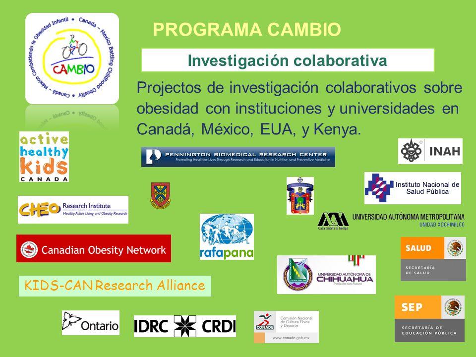 PROGRAMA CAMBIO Investigación colaborativa Projectos de investigación colaborativos sobre obesidad con instituciones y universidades en Canadá, México