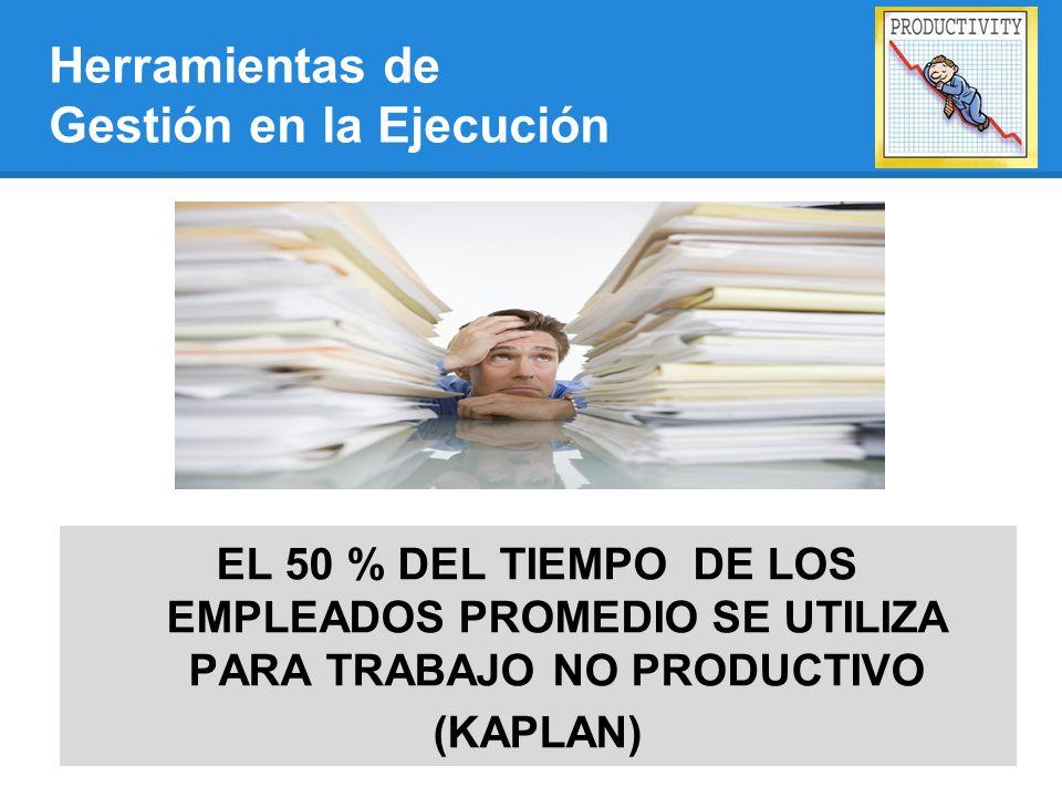 EL 50 % DEL TIEMPO DE LOS EMPLEADOS PROMEDIO SE UTILIZA PARA TRABAJO NO PRODUCTIVO (KAPLAN) Herramientas de Gestión en la Ejecución