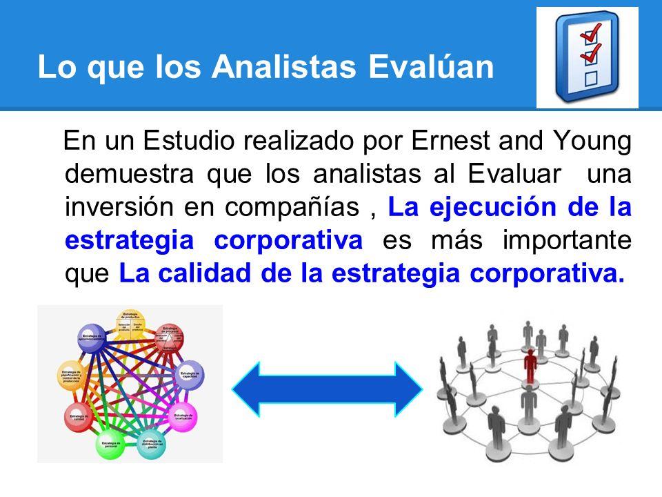 Lo que los Analistas Evalúan En un Estudio realizado por Ernest and Young demuestra que los analistas al Evaluar una inversión en compañías, La ejecución de la estrategia corporativa es más importante que La calidad de la estrategia corporativa.