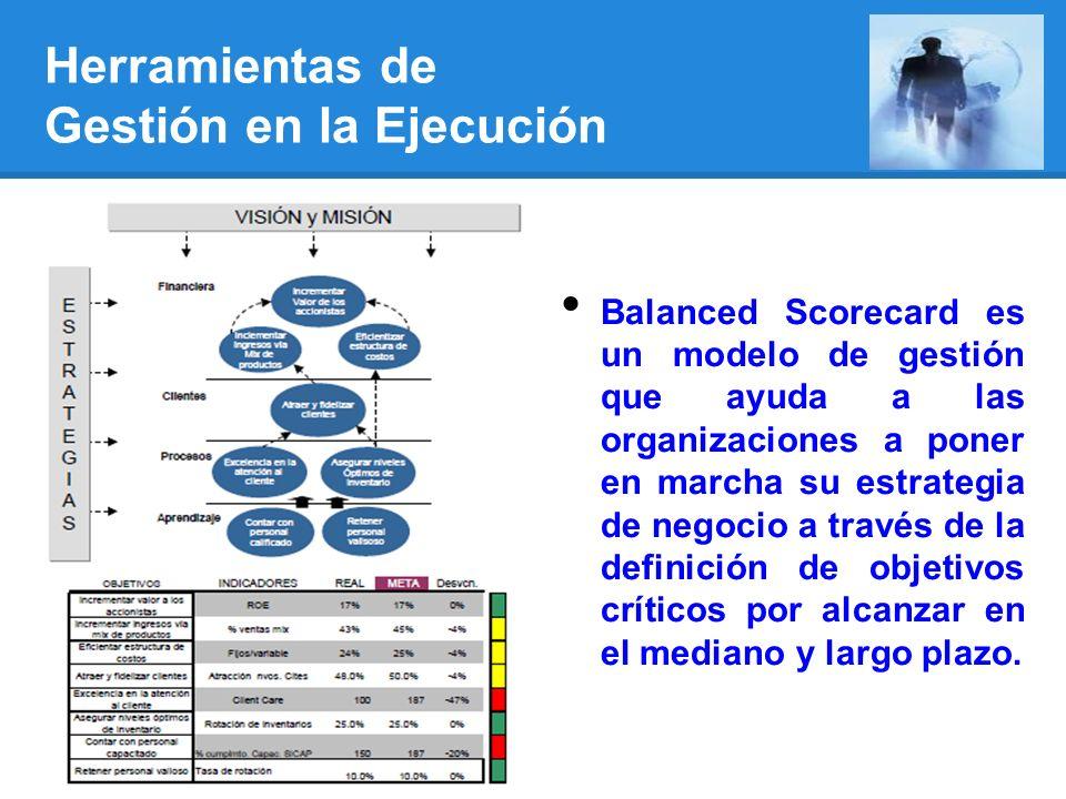 Herramientas de Gestión en la Ejecución Balanced Scorecard es un modelo de gestión que ayuda a las organizaciones a poner en marcha su estrategia de negocio a través de la definición de objetivos críticos por alcanzar en el mediano y largo plazo.