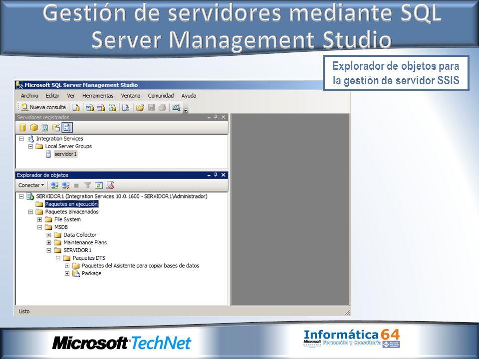 Explorador de objetos para la gestión de servidor SSIS