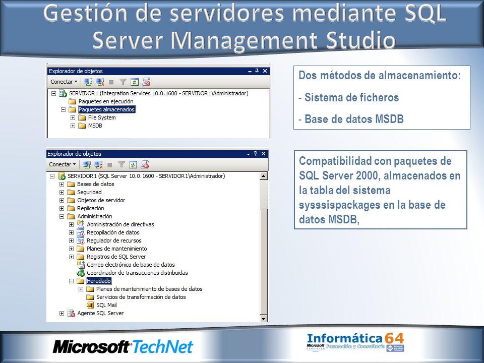 Dos métodos de almacenamiento: - Sistema de ficheros - Base de datos MSDB Compatibilidad con paquetes de SQL Server 2000, almacenados en la tabla del sistema sysssispackages en la base de datos MSDB,