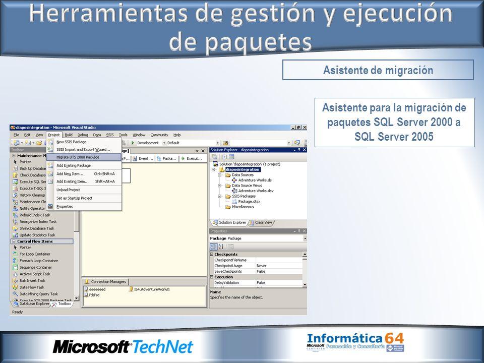Asistente para la migración de paquetes SQL Server 2000 a SQL Server 2005 Asistente de migración
