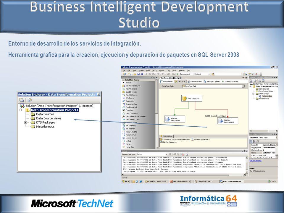 Entorno de desarrollo de los servicios de integración. Herramienta gráfica para la creación, ejecución y depuración de paquetes en SQL Server 2008