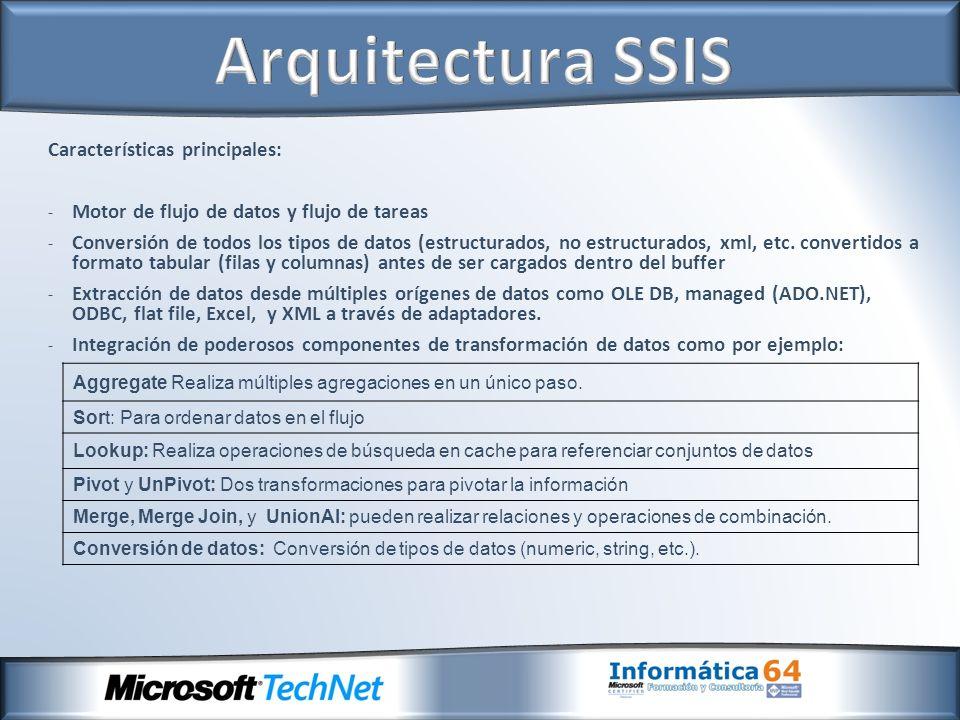 Características principales: - Motor de flujo de datos y flujo de tareas - Conversión de todos los tipos de datos (estructurados, no estructurados, xml, etc.