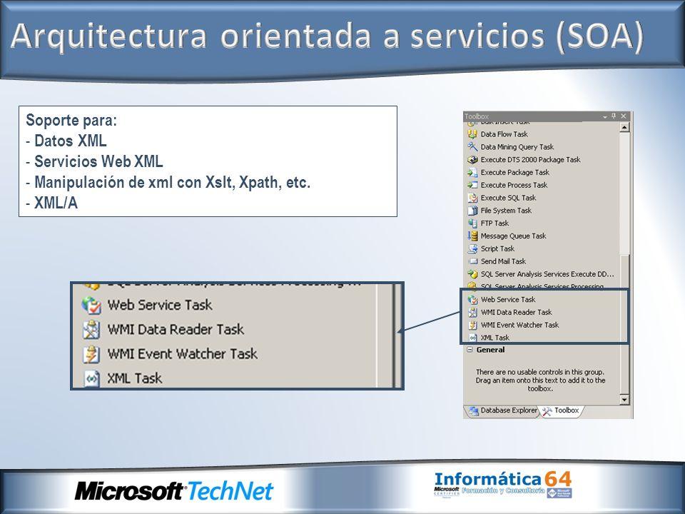Soporte para: - Datos XML - Servicios Web XML - Manipulación de xml con Xslt, Xpath, etc. - XML/A