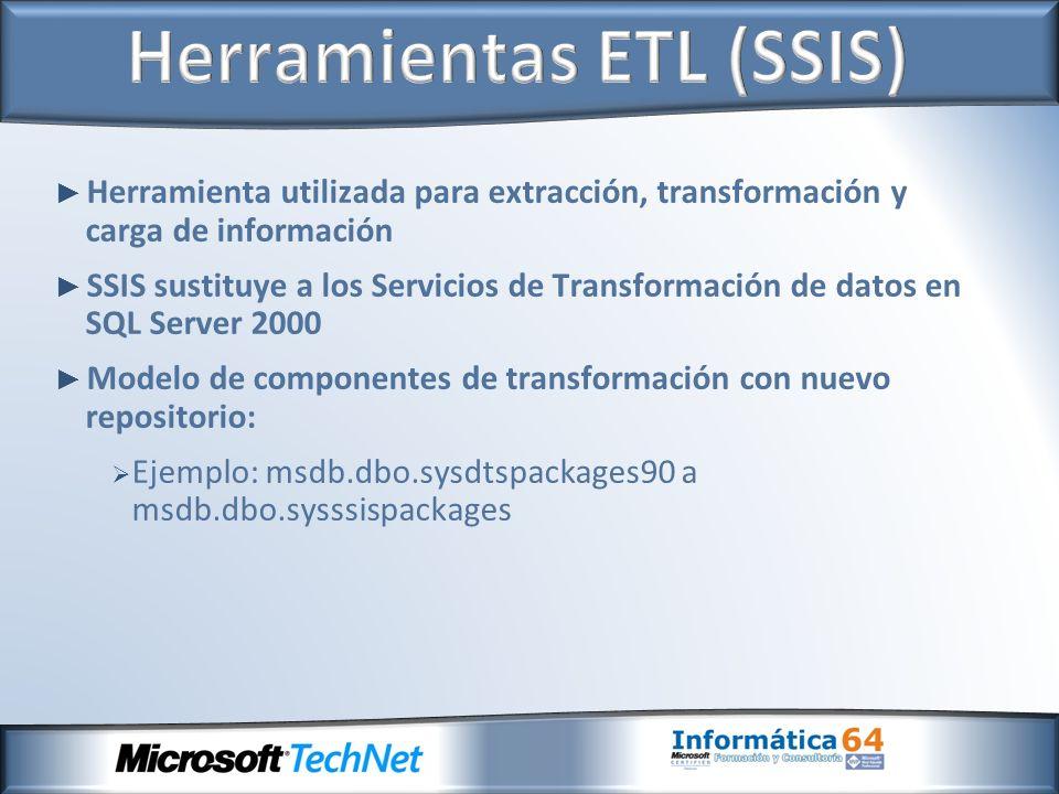 Herramienta utilizada para extracción, transformación y carga de información SSIS sustituye a los Servicios de Transformación de datos en SQL Server 2000 Modelo de componentes de transformación con nuevo repositorio: Ejemplo: msdb.dbo.sysdtspackages90 a msdb.dbo.sysssispackages