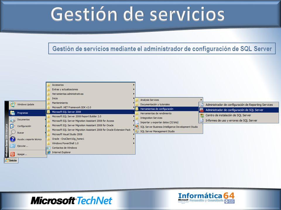 Gestión de servicios mediante el administrador de configuración de SQL Server