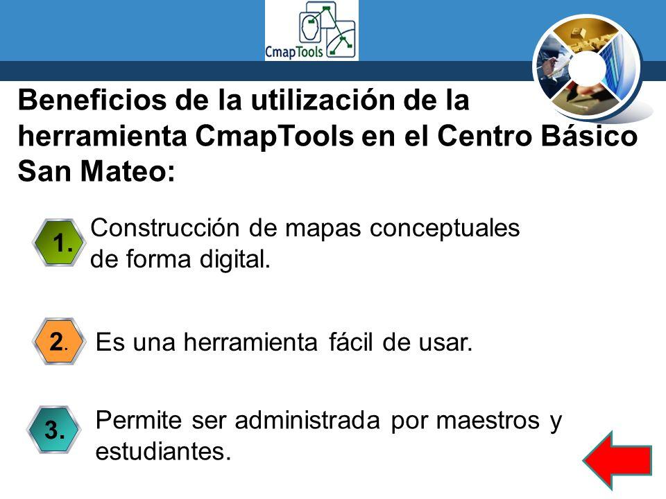 Beneficios de la utilización de la herramienta CmapTools en el Centro Básico San Mateo: 1. Construcción de mapas conceptuales de forma digital. 2.2. E