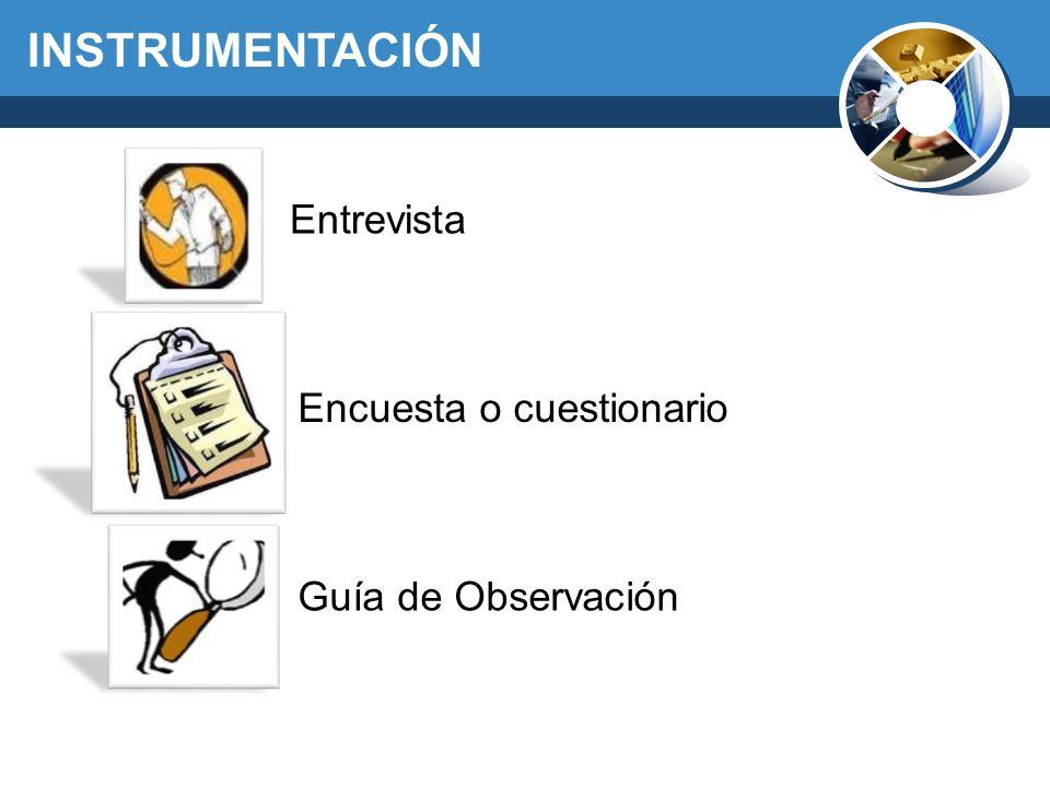 INSTRUMENTACIÓN Entrevista Encuesta o cuestionario Guía de Observación