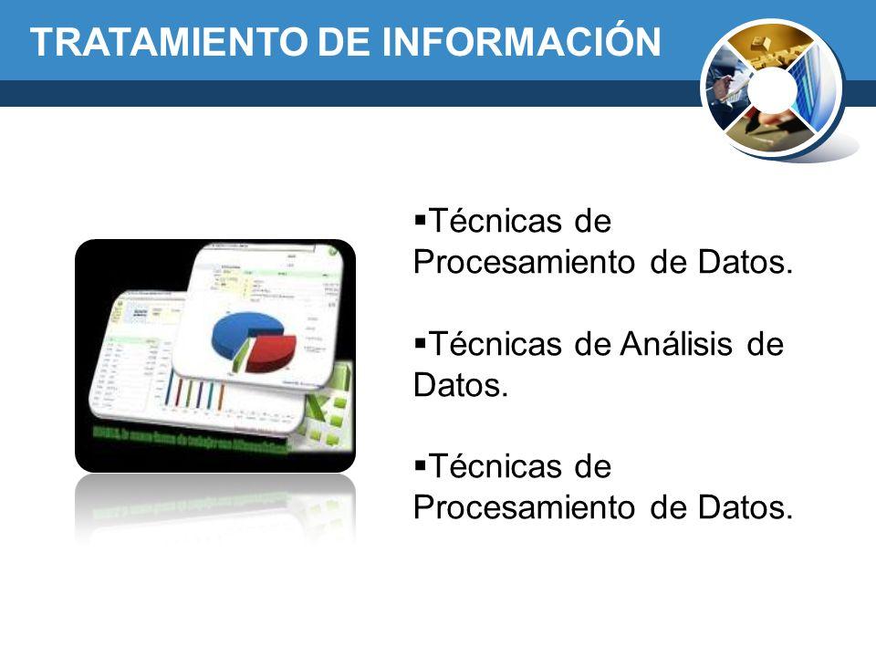 TRATAMIENTO DE INFORMACIÓN Técnicas de Procesamiento de Datos. Técnicas de Análisis de Datos. Técnicas de Procesamiento de Datos.