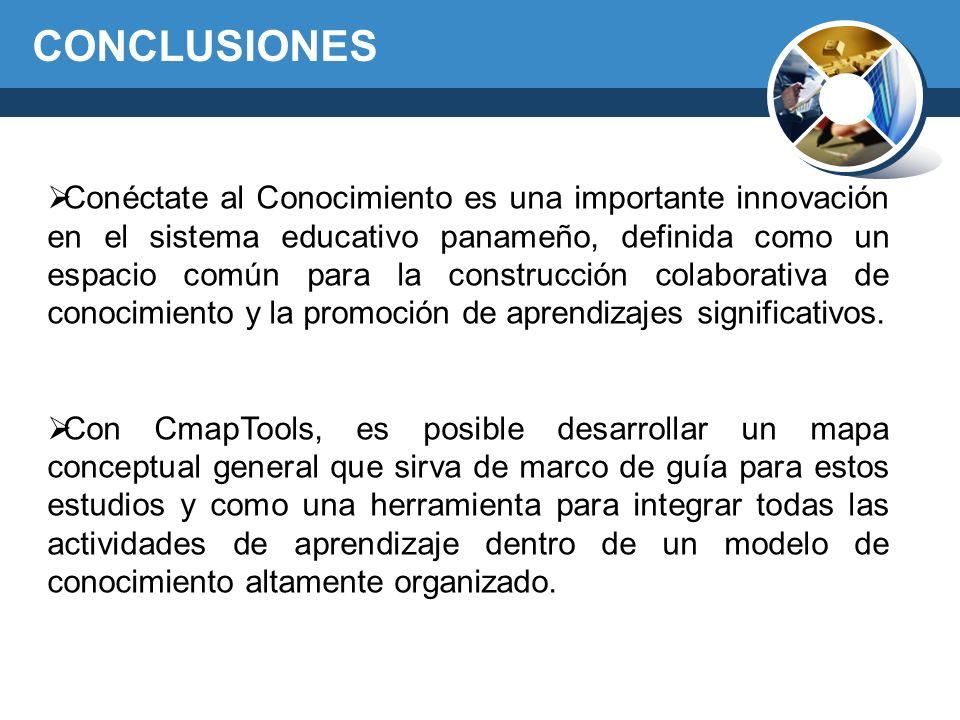 CONCLUSIONES Conéctate al Conocimiento es una importante innovación en el sistema educativo panameño, definida como un espacio común para la construcc