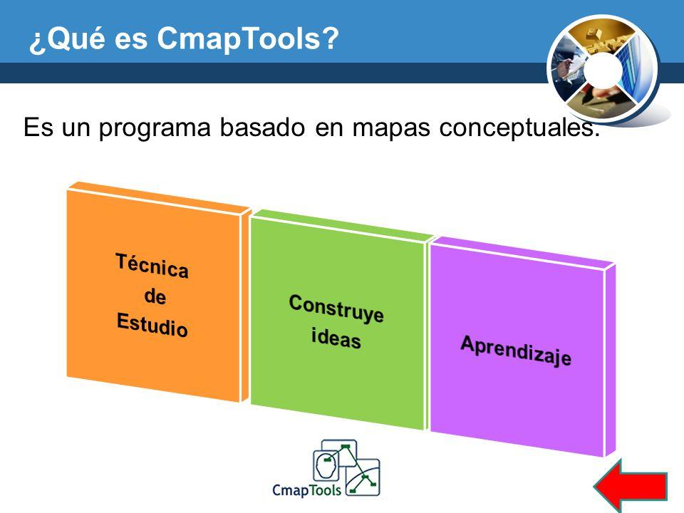 ¿Qué es CmapTools? Es un programa basado en mapas conceptuales.