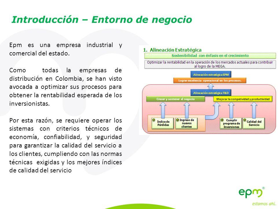 Introducción – Entorno de negocio Epm es una empresa industrial y comercial del estado. Como todas la empresas de distribución en Colombia, se han vis
