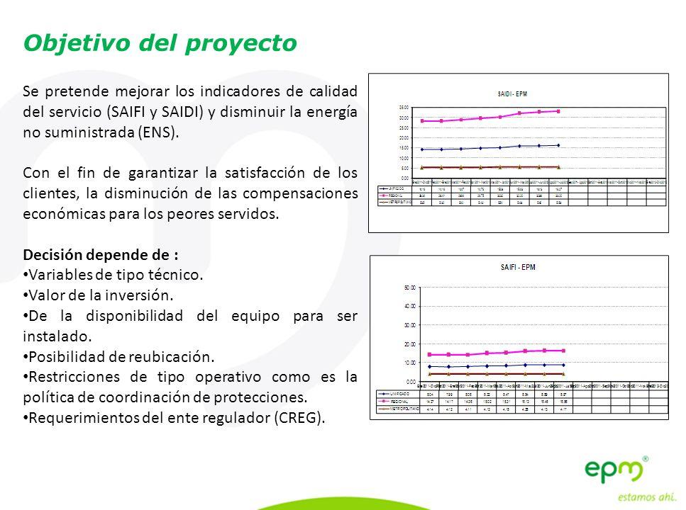 Se pretende mejorar los indicadores de calidad del servicio (SAIFI y SAIDI) y disminuir la energía no suministrada (ENS). Con el fin de garantizar la