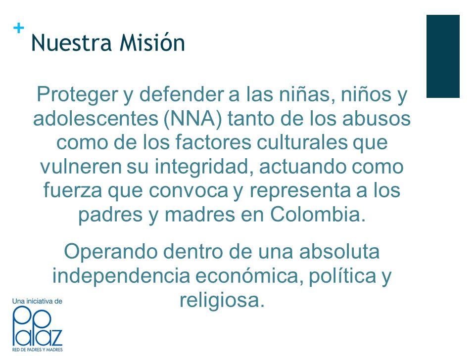 + Nuestra Misión Proteger y defender a las niñas, niños y adolescentes (NNA) tanto de los abusos como de los factores culturales que vulneren su integridad, actuando como fuerza que convoca y representa a los padres y madres en Colombia.