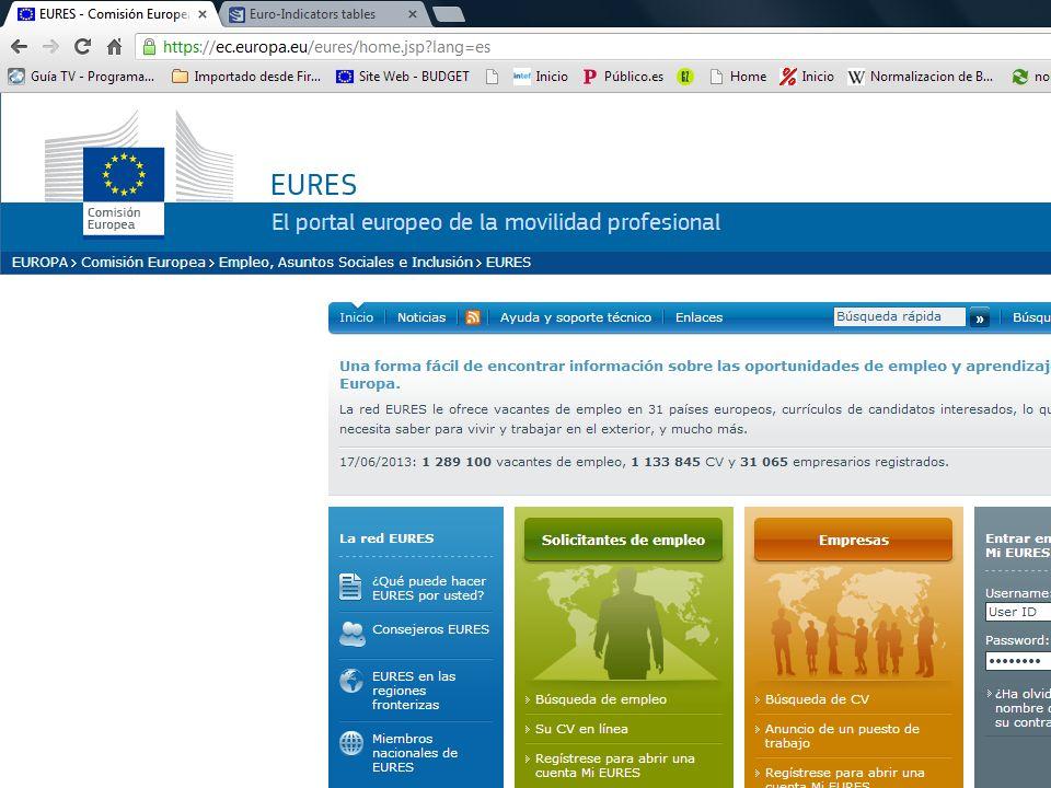 12 El Portal EURES Ofrece: Más de 1.000.000 de ofertas de empleo, Información sobre condiciones de vida y trabajo de todos los estados miembros del Es