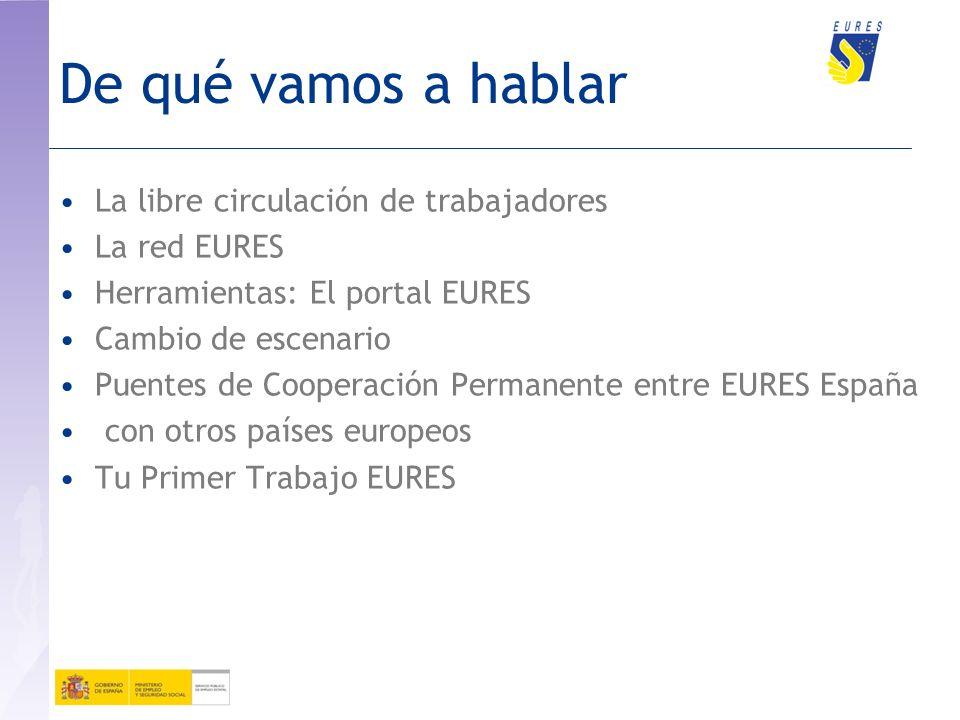 De qué vamos a hablar La libre circulación de trabajadores La red EURES Herramientas: El portal EURES Cambio de escenario Puentes de Cooperación Permanente entre EURES España con otros países europeos Tu Primer Trabajo EURES