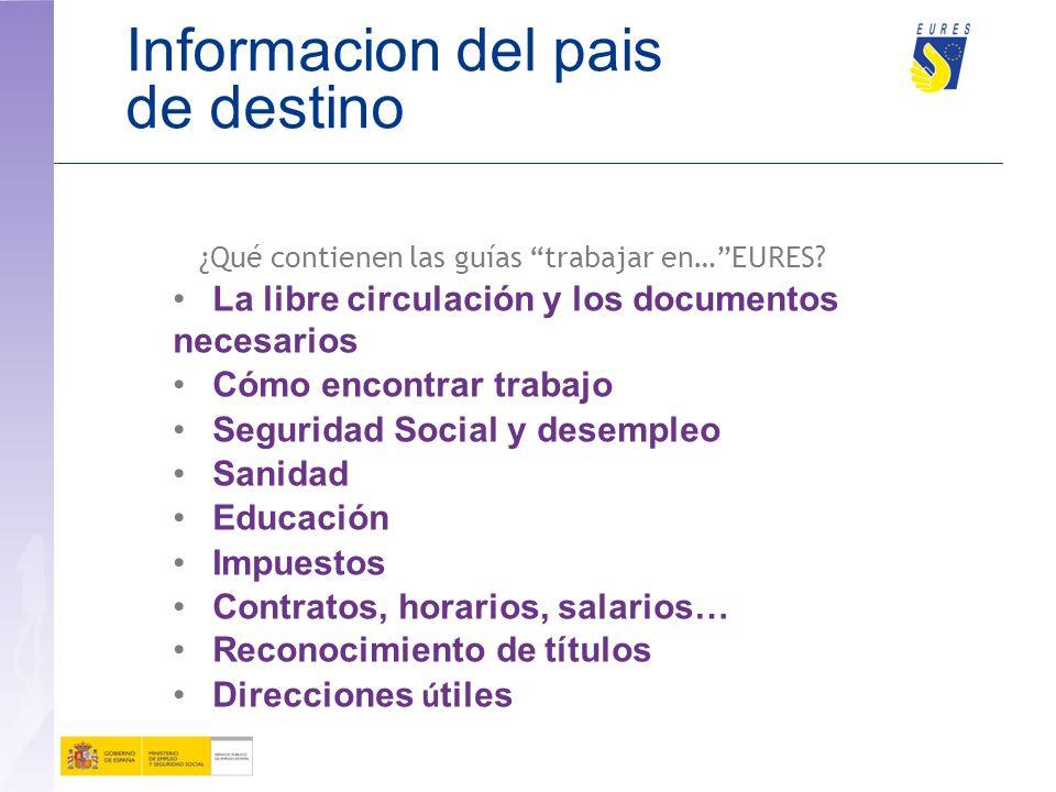 Informacion del pais de destino Las gu í as de EURES: www.sepe.es/redEURES www.sepe.es Trabajar en…. (de cada país) Trabajar en verano Graduado: tu em