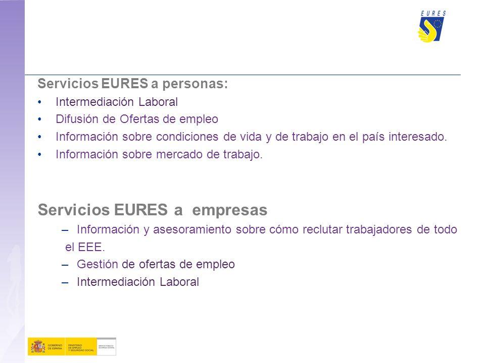 Servicios EURES a personas: Intermediación Laboral Difusión de Ofertas de empleo Información sobre condiciones de vida y de trabajo en el país interesado.