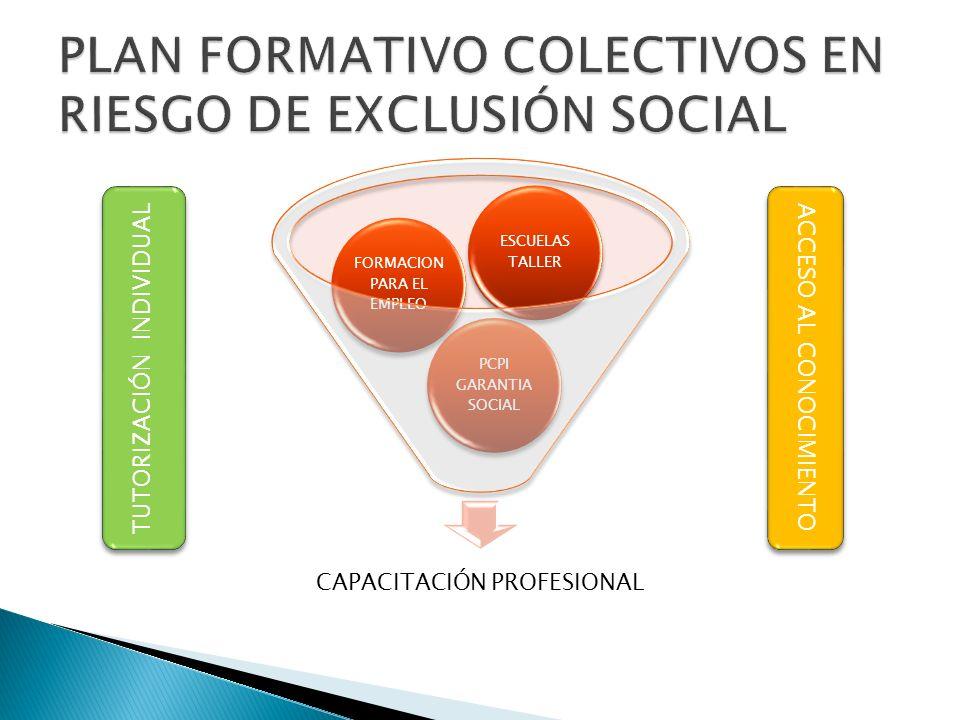 CAPACITACIÓN PROFESIONAL PCPI GARANTIA SOCIAL FORMACION PARA EL EMPLEO ESCUELAS TALLER TUTORIZACIÓN INDIVIDUAL ACCESO AL CONOCIMIENTO