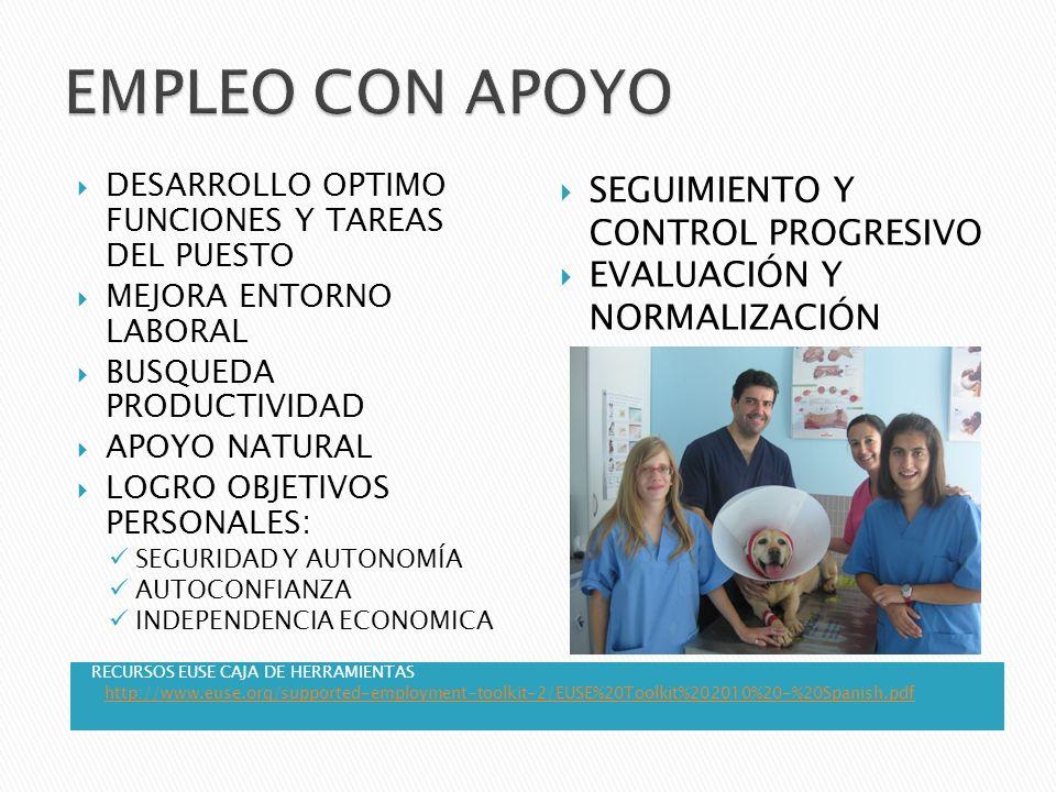 RECURSOS EUSE CAJA DE HERRAMIENTAS http://www.euse.org/supported-employment-toolkit-2/EUSE%20Toolkit%202010%20-%20Spanish.pdf DESARROLLO OPTIMO FUNCIO