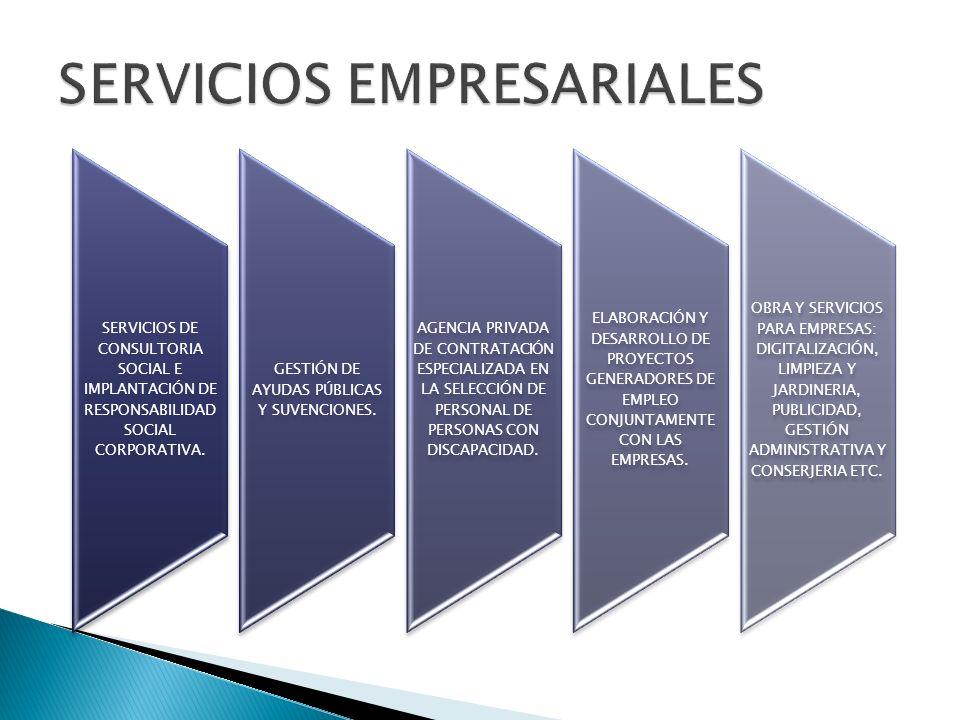 SERVICIOS DE CONSULTORIA SOCIAL E IMPLANTACIÓN DE RESPONSABILIDAD SOCIAL CORPORATIVA. GESTIÓN DE AYUDAS PÚBLICAS Y SUVENCIONES. AGENCIA PRIVADA DE CON