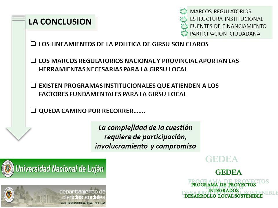LA CONCLUSION LOS LINEAMIENTOS DE LA POLITICA DE GIRSU SON CLAROS LOS MARCOS REGULATORIOS NACIONAL Y PROVINCIAL APORTAN LAS HERRAMIENTAS NECESARIAS PA