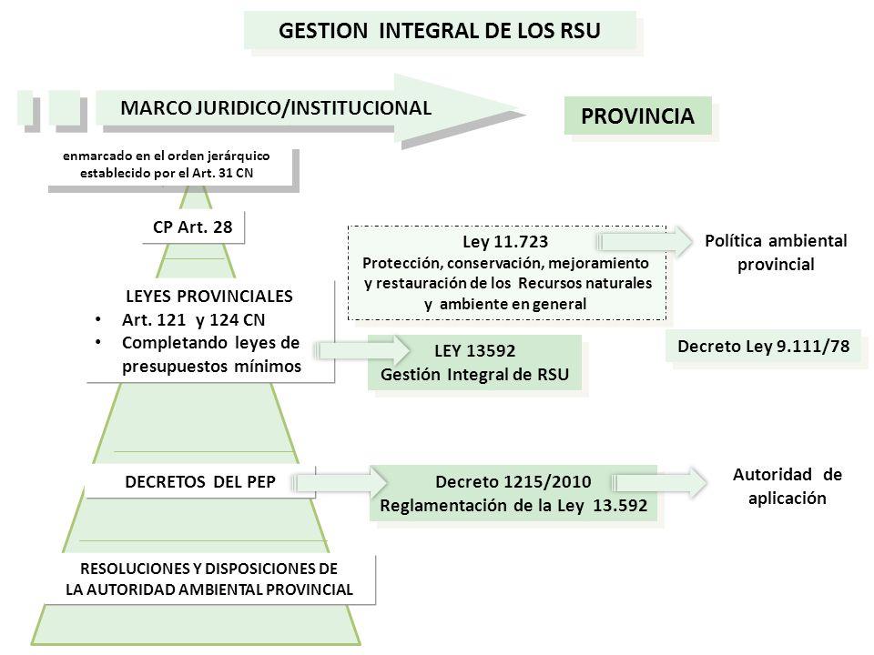 CP Art. 28 LEYES PROVINCIALES Art. 121 y 124 CN Completando leyes de presupuestos mínimos DECRETOS DEL PEP RESOLUCIONES Y DISPOSICIONES DE LA AUTORIDA